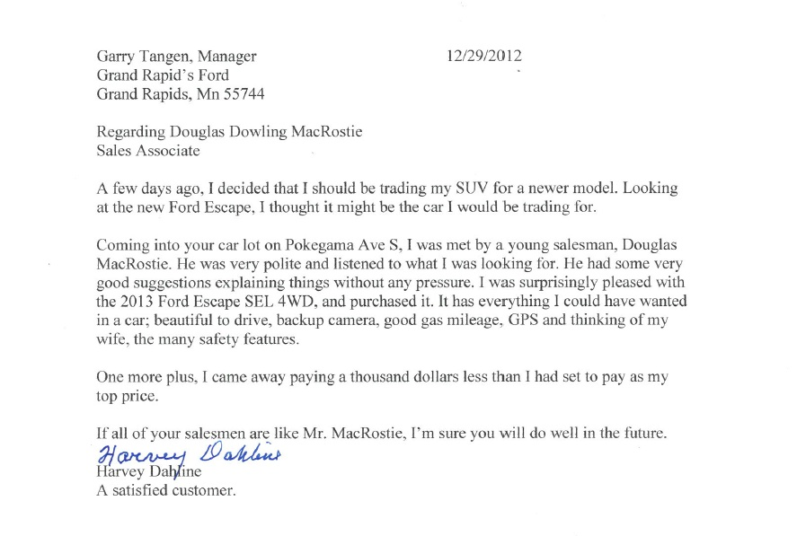 Kind Words About Doug @ Rapids Ford | Macedelic Studios